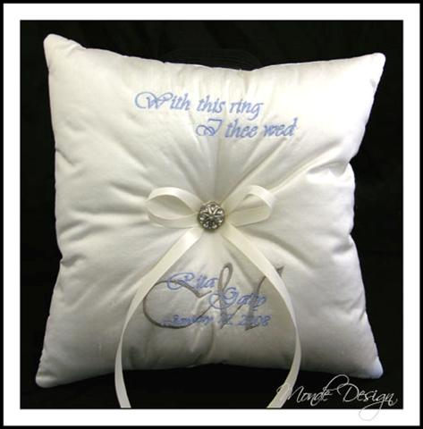 Custom Ring Pillow with Extra Embroidery